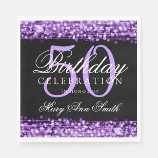 Elegant 50th Birthday Party Sparkles Purple Paper Napkins