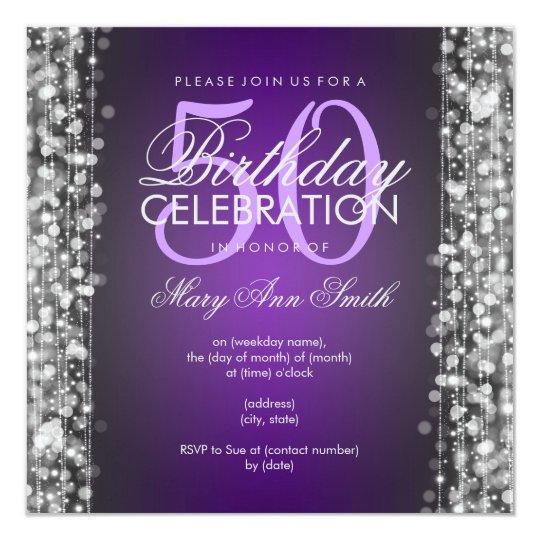 Elegant 50th Birthday Party Sparkles Purple Silver Card
