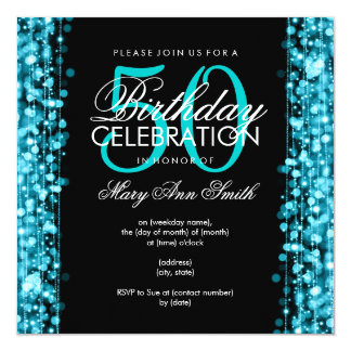 "Elegant 50th Birthday Party Sparkles Turquoise 5.25"" Square Invitation Card"