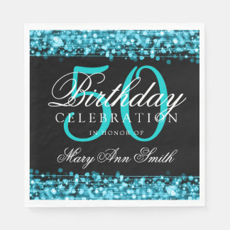Elegant 50th Birthday Party Sparkles Turquoise Paper Napkins