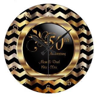 Elegant 50th Gold Chevron Anniversary Design Clock