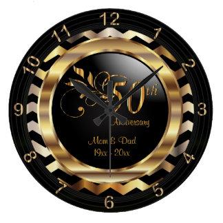 Elegant 50th Gold Chevron Anniversary Design Wall Clock