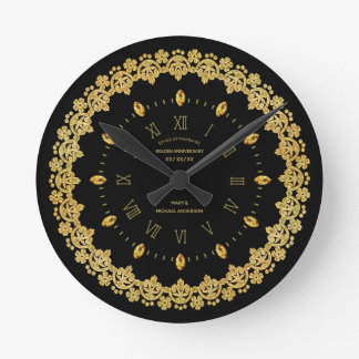 Elegant 50th Golden Anniversary Black Gold Custom Round Clock