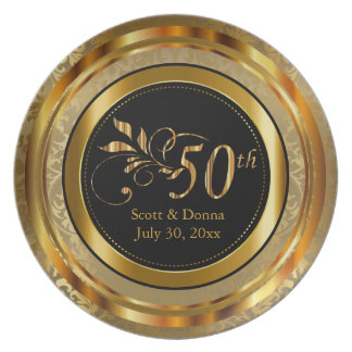 Elegant 50th Golden Anniversary Plate