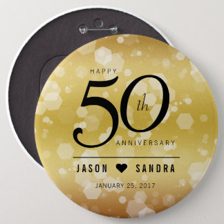 Elegant 50th Golden Wedding Anniversary 6 Inch Round Button
