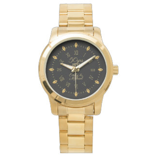 Elegant 50th Golden Wedding Anniversary Date Name Watch
