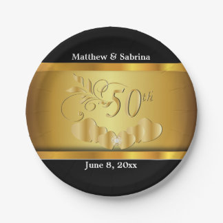 Elegant 50th Golden Wedding Anniversary Paper Plate