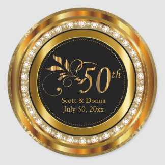 Elegant 50th Golden Wedding Anniversary Round Sticker