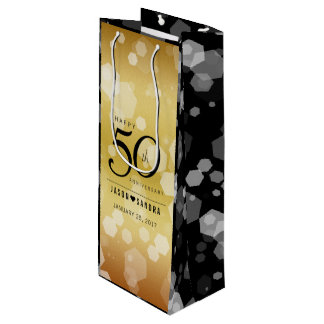 Elegant 50th Golden Wedding Anniversary Wine Gift Bag