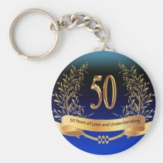Elegant 50th Wedding Anniversary Gifts Basic Round Button Keychain