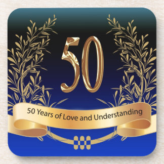 Elegant 50th Wedding Anniversary Gifts Beverage Coasters