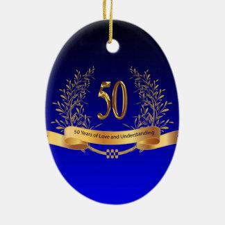 Elegant 50th Wedding Anniversary Gifts Ceramic Oval Ornament