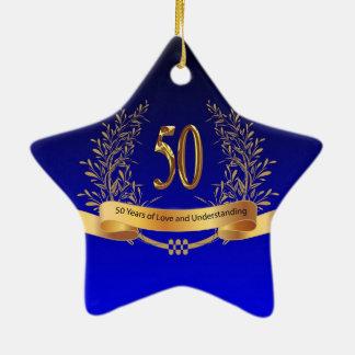 Elegant 50th Wedding Anniversary Gifts Ceramic Star Ornament