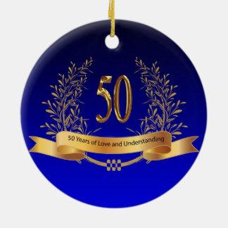 Elegant 50th Wedding Anniversary Gifts Round Ceramic Ornament