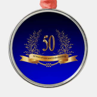 Elegant 50th Wedding Anniversary Gifts Silver-Colored Round Ornament