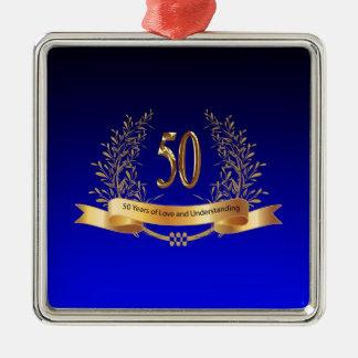 Elegant 50th Wedding Anniversary Gifts Silver-Colored Square Ornament