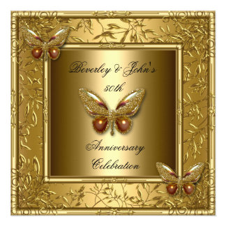 Elegant 50th Wedding Anniversary Gold Butterfly 2 Announcements