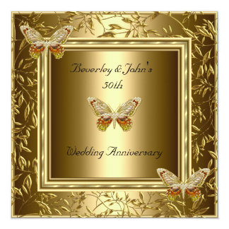 """Elegant 50th Wedding Anniversary Gold Butterfly 5.25"""" Square Invitation Card"""