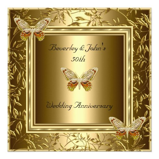 Elegant 50th Wedding Anniversary Gold Butterfly Personalized Announcement