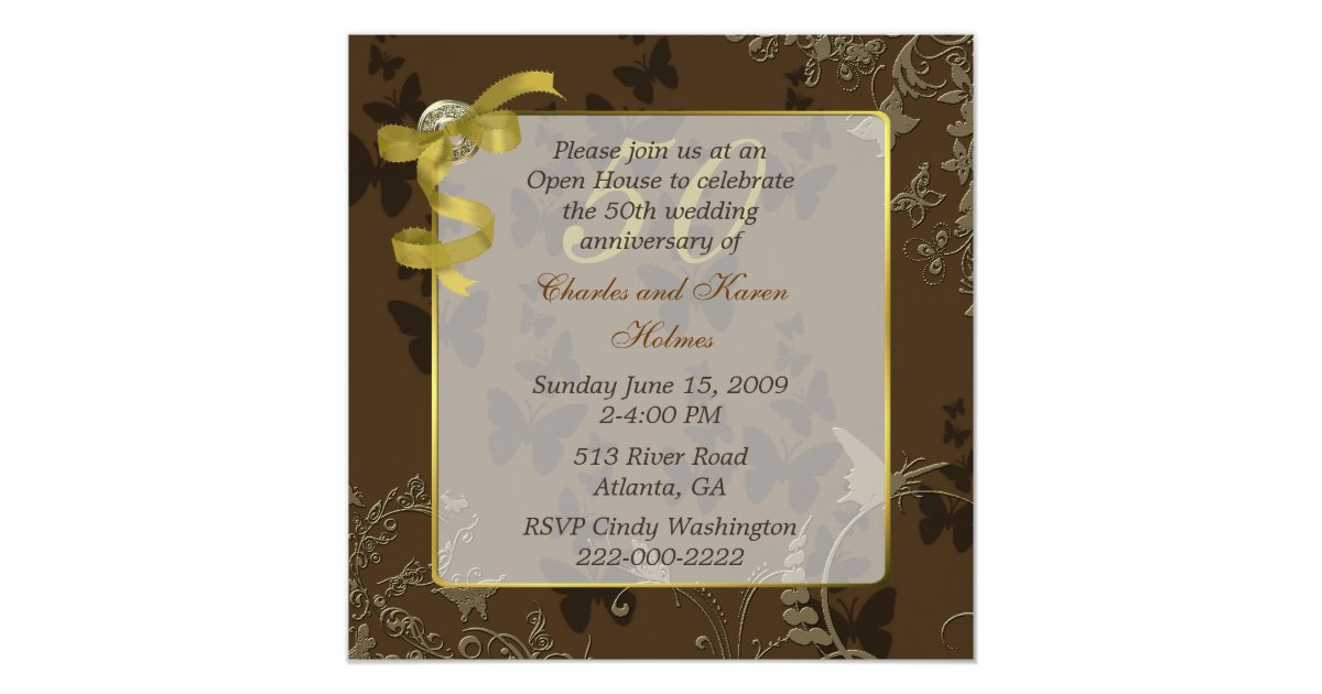 Cheap 50th Wedding Anniversary Invitations: Elegant 50th Wedding Anniversary Invitation