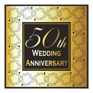 Elegant 50th Wedding Anniversary Invitations