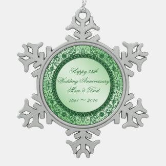Elegant 55 Wedding Anniversary Snowflake Ornament
