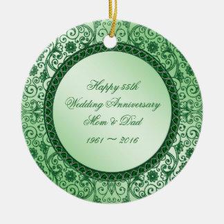Elegant 55th Wedding Anniversary Round Ornament