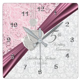 Elegant 5th Pink Wedding Anniversary Keepsake Square Wall Clock