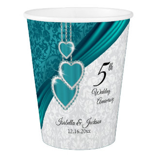 Elegant 5th Turquoise Wedding Anniversary Paper Cup