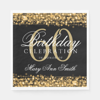 Elegant 60th Birthday Gold Bokeh Sparkle Lights Paper Napkin