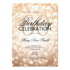 Elegant 60th Birthday Party Copper Glitter Lights Card