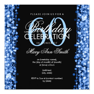 "Elegant 60th Birthday Party Sparkles Blue 5.25"" Square Invitation Card"