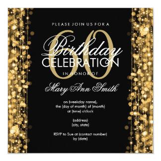 "Elegant 60th Birthday Party Sparkles Gold 5.25"" Square Invitation Card"