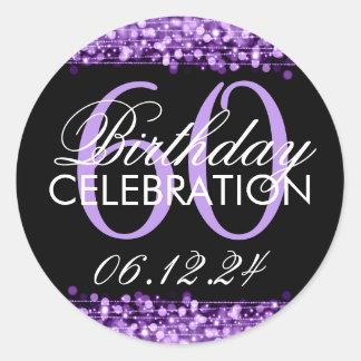 Elegant 60th Birthday Party Sparkles Purple Round Sticker