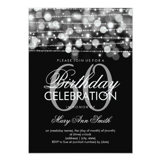 Elegant 60th Birthday Party Sparkles Silver Card