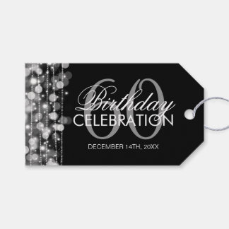 Elegant 60th Birthday Party Sparkles Silver Pack Of Gift Tags