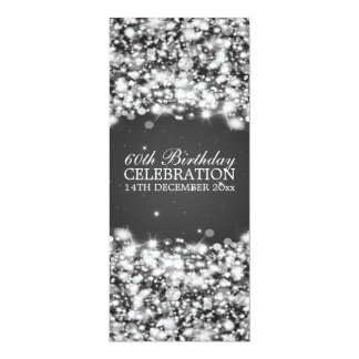 Elegant 60th Birthday Party Star Sparkle Black Card
