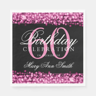 Elegant 60th Birthday Pink Bokeh Sparkle Lights Disposable Napkins