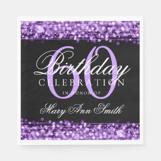 Elegant 60th Birthday Purple Bokeh Sparkle Lights Paper Napkin
