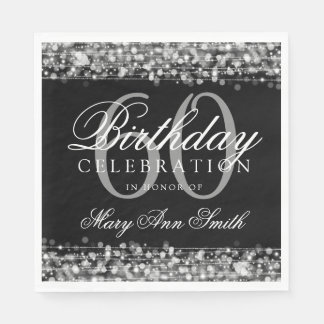 Elegant 60th Birthday Silver Bokeh Sparkle Lights Paper Napkins