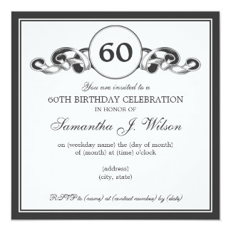 Elegant 60th Birthday Swirly Ribbon Black Card