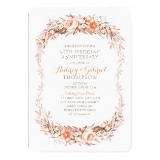 Elegant 60th Wedding Anniversary Floral Fall Card