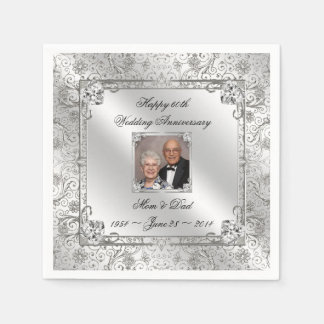 Elegant 60th Wedding Anniversary Paper Napkin