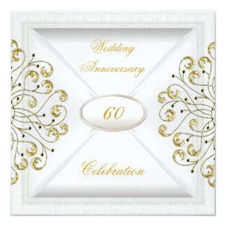 Elegant  60th Wedding Anniversary White Gold Card