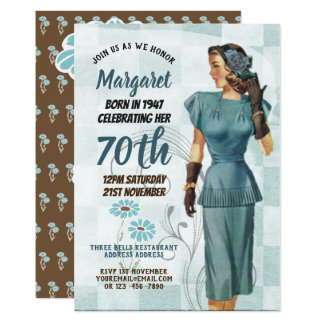 Elegant 70th Birthday Invite RETRO 1940s Woman