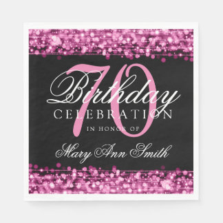 Elegant 70th Birthday Party Sparkles Pink Paper Napkins