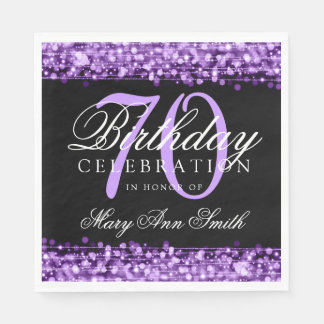 Elegant 70th Birthday Party Sparkles Purple Paper Napkin