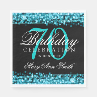 Elegant 70th Birthday Party Sparkles Turquoise Paper Napkins