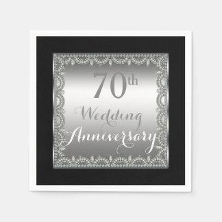 Elegant 70th Silver and Diamonds Anniversary Paper Napkin