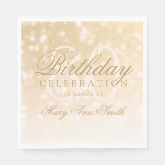 Elegant 80th Birthday Gold Bokeh Sparkle Lights Disposable Napkin